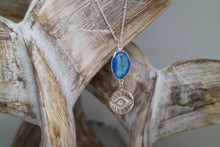 Load image into Gallery viewer, Blue Druzy Geode Agate Silver Necklace with evil eye pendant