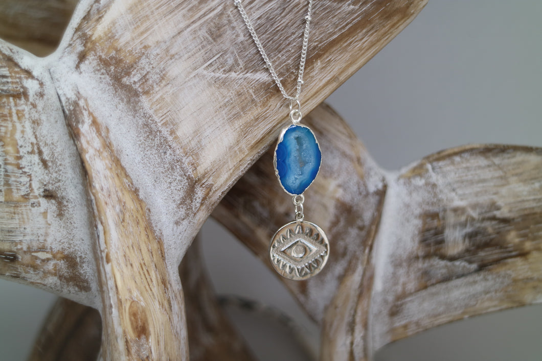 Blue Druzy Geode Agate Silver Necklace with evil eye pendant