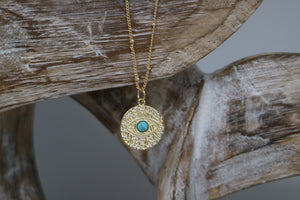 Gold Evil Eye Necklace with cubic zirconia and turquoise