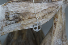 Load image into Gallery viewer, Silver rhodium anchor necklace with cubic zirconia