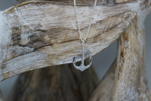 Silver rhodium anchor necklace with cubic zirconia