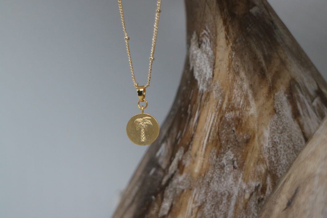 Gold palm tree coin necklace