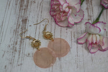 Load image into Gallery viewer, Gold Sunflower and Pink Mother of Pearl Shell Earrings