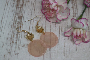 Gold Sunflower and Pink Mother of Pearl Shell Earrings