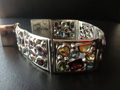Semi Precious multi colour Sterling Silver Bracelet