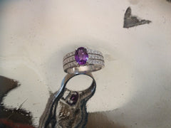 Purple Sapphire 1.79ct, 36 Diamonds 0.43ct 18K WG