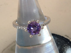 Purple Sapphire 0.58ct, 14 Diamonds 0.10ct 18K WG