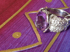 Amethyst 6.05ct, 102 White Sapphires 2.22ct Sterling Silver Ring
