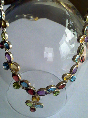 SOLD Multi colour Semi Precious Sterling Silver Necklace SOLD