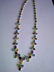 Multi colour Semi Precious Sterling Silver Necklace