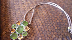 4 Citrines 11.18ct, 5 Peridots 49.03ct Sterling Silver Necklace