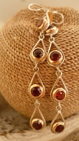 8 Garnets Silver/YG  Earrings
