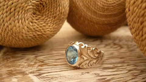 Blue Topaz, Sterling Silver Ring