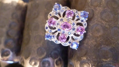 5 Pink Sapphires, 28 Blue Sapphires 3.37ct, Sterling Silver Ring