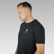 Men's Black Christian Cross Organic T-Shirt