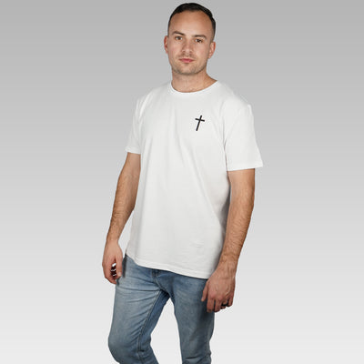 Men's White Christian Cross Organic T-shirt