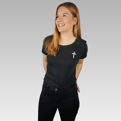 Women's Black Christian Cross Organic T-shirt