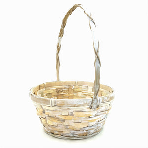 "0116/8-WW 8"" White Wash Bamboo Basket W/Liner"