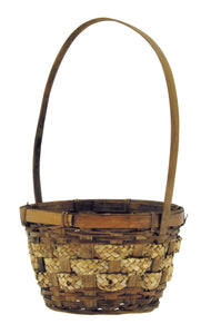 "09084  6""Round Brown Stained Fern/Straw Basket W/Handle"