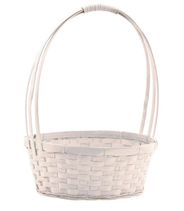 "1005WW 10"" Round Bamboo White Washed Basket W/Handle & Liner"