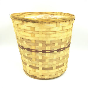 "10082  6"" Bamboo Pot Cover Basket W/Liner"