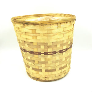 "10080  10"" Bamboo Pot Cover Basket W/Liner"
