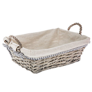 "133612 9"" X 12.5"" X 4.5"" Gray Willow Basket W/Cloth Liner"