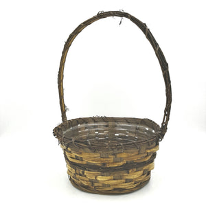 "1508  8.5""Round Vine/Bamboo Basket W/Handle"