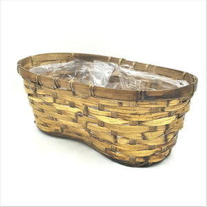 "179  6"" Brown Stained Rattan Peanut Basket"