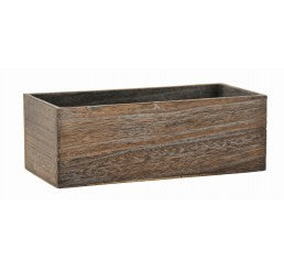 "2110-ST  10""Length Brown Stain Wooden Container W/Hard Liner"