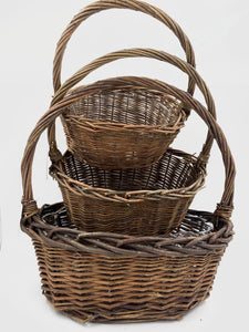 2516RS Oval Rustic Willow Basket 3/set