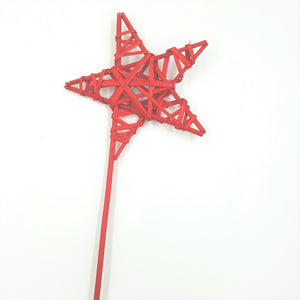 "31-32013  5 1/2"" Wicker Star Pick, Red 6/Pk"
