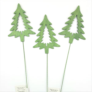 "31-32039  Green Laser Cut Wood Tree Pick 18"" 12/Pk"