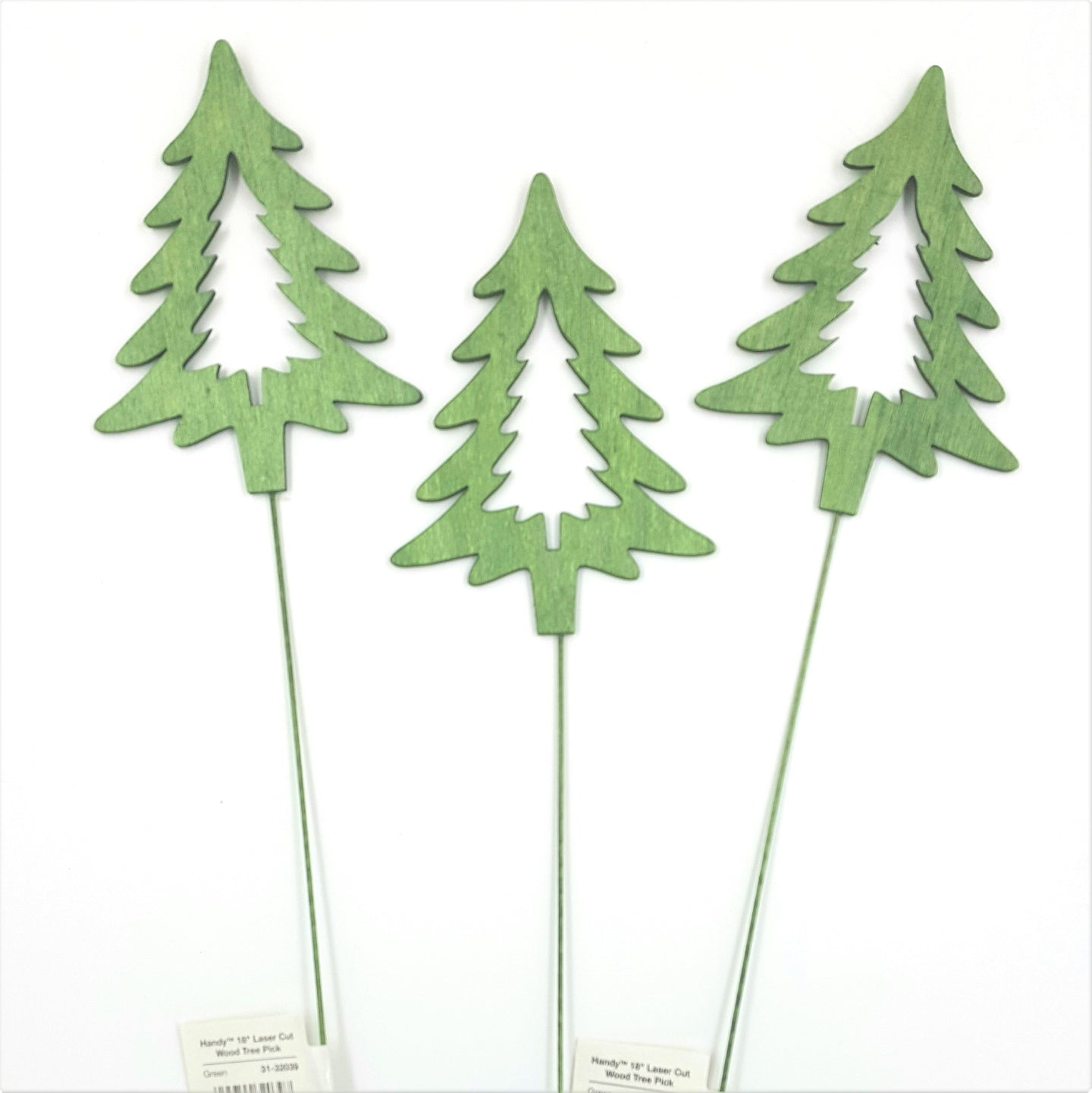 31-32039  Green Laser Cut Wood Tree Pick 18