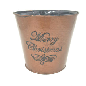 "45-22102  5 1/2"" Merry Christmas Tin Pot, Copper W/Liner"