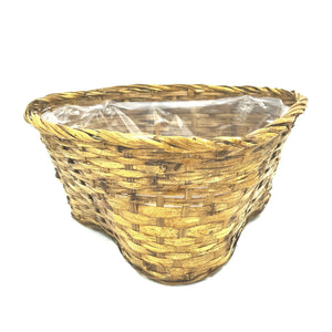 "90762B  6"" Stained Triangular Pot Cover Basket W/Liner"