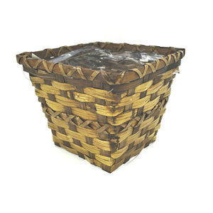 "91687  6"" Square Brown Rattan Pot Cover W/Liner"