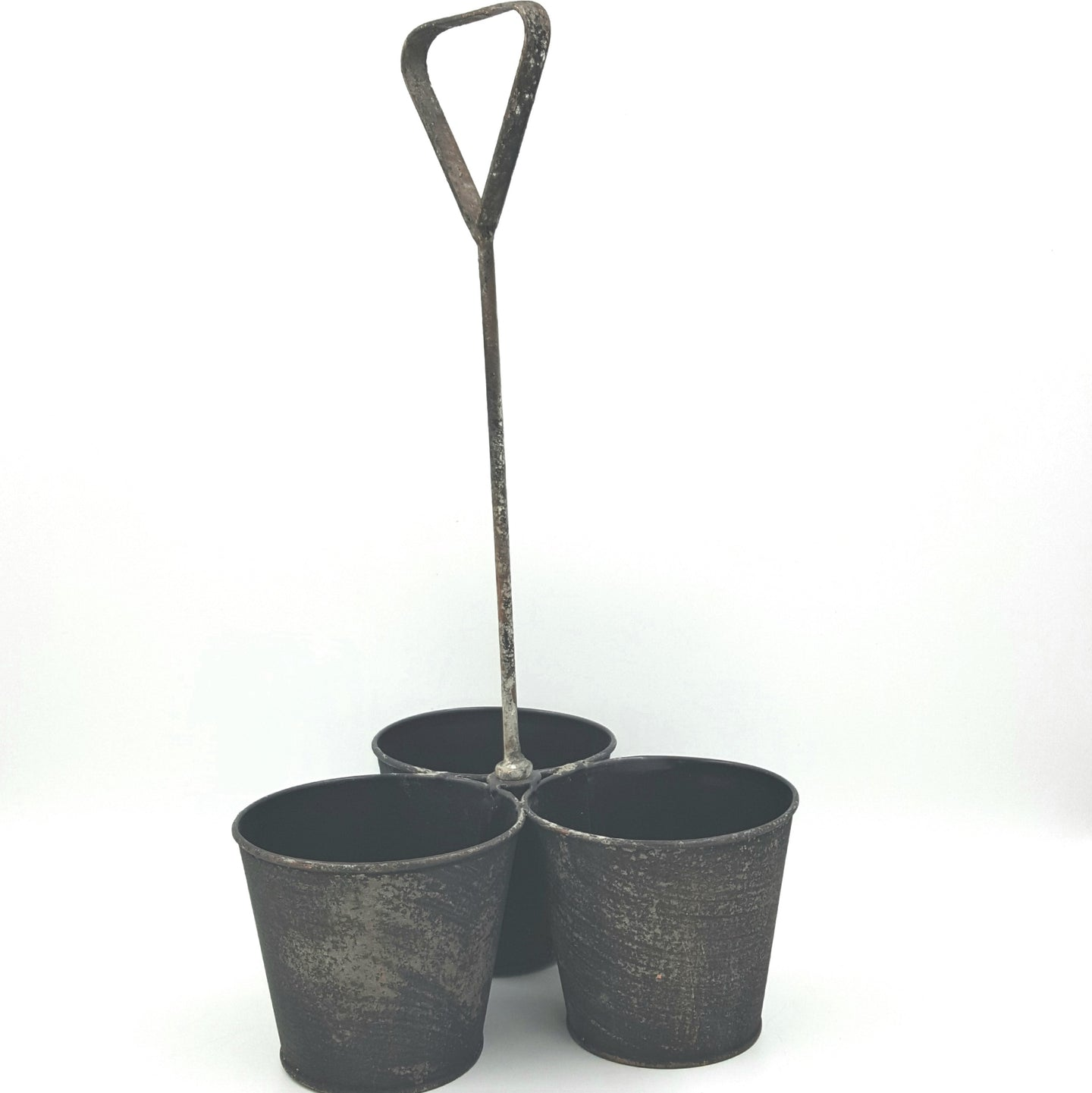 922292CHA  Triple, Aged Metal Pots-Charcoal Color