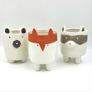 "C3104  4""Round Ceramic Forest Animal Pots (Asst of 3)"