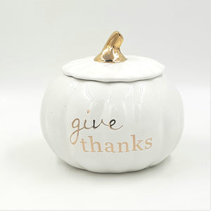 "C5182  6"" White/Gold ""Give Thanks"" Pumpkin Pot W/Lid"