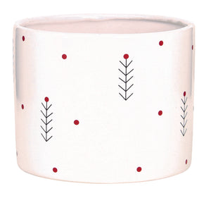 "C7841  5"" Round White Tree Ceramic Pot"