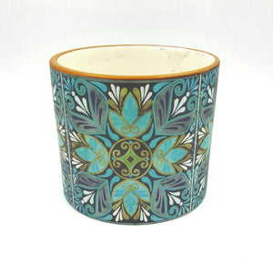 "C8511  5""Round Blue Design Ceramic Pot (Each)"