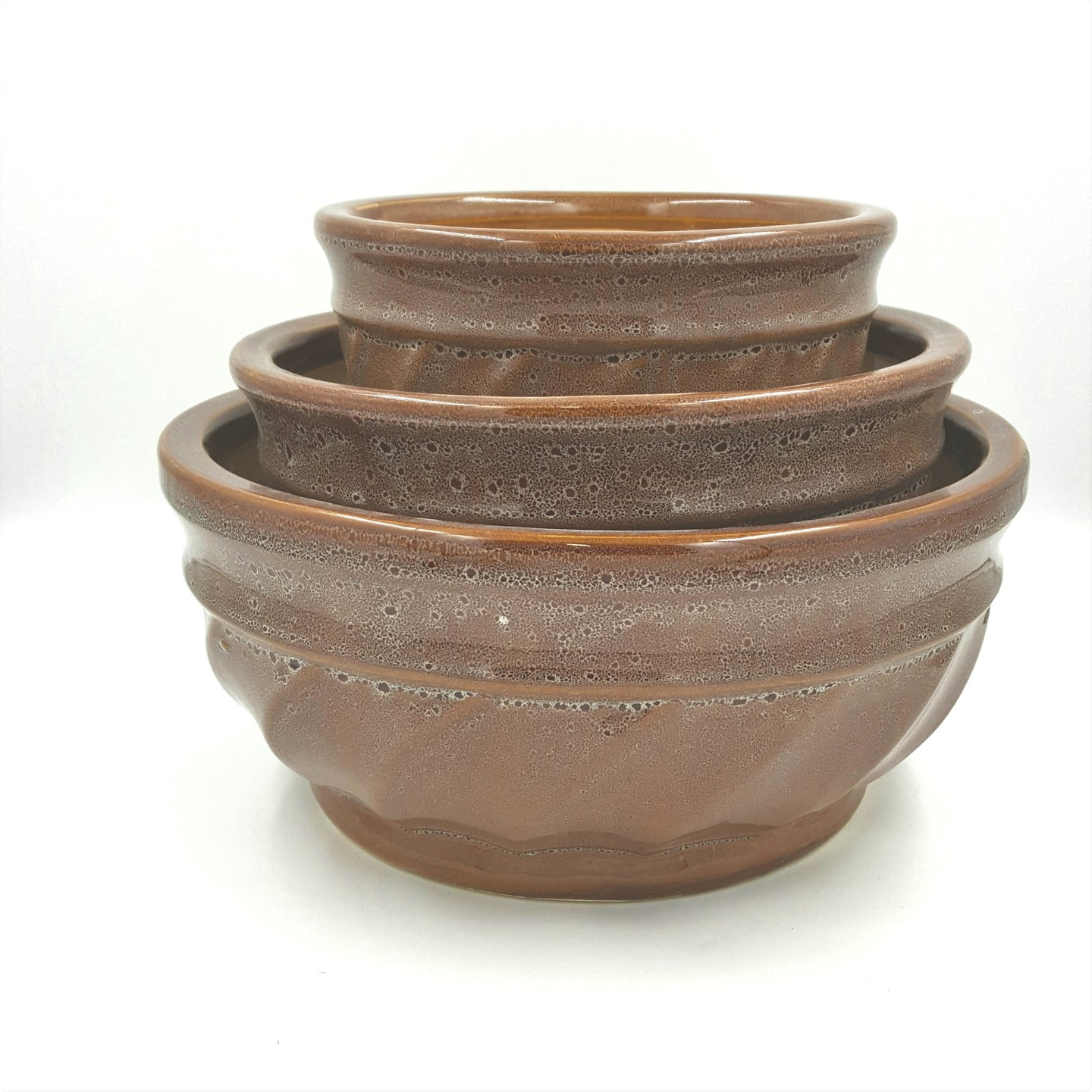CL1BRN  Brown Round 2-Tone Dish Garden Set/3