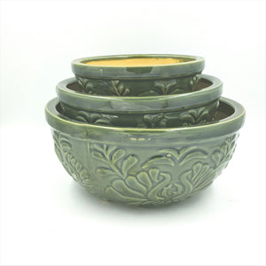 CL5  Round Embossed Ceramic Dish Garden - Multiple Colors
