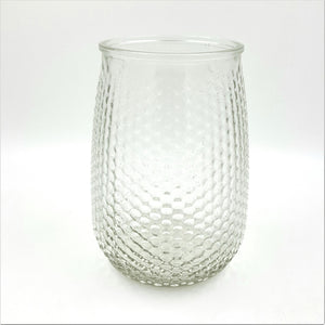 "G8600  7.75"" Tall Round Clear Embossed Glass Vase"