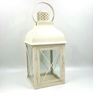 "ML446CMMD  13.75""Tall Square Cream Metal C-Holder Lantern"