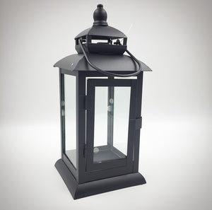 "ML731B  16"" Tall Black Metal Candle Lantern"