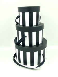 PB04 Black/White Striped Hat Box 3/set