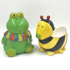T0386  Frog & Bee Ceramic Pot Asst. (2/Set)