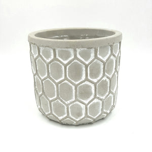 "T4608  Embossed Honeycomb Cement Pot 4.75""Opening X 5.25""Height"